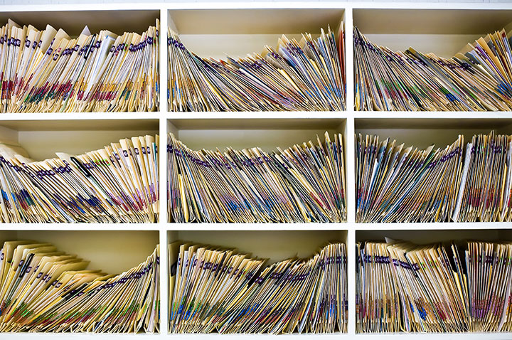 Wall of Patient Files