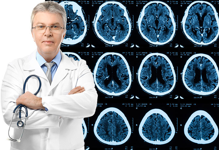 Doctor with MRI Image in Background